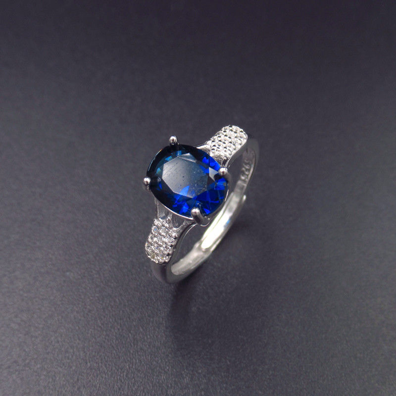 Real Silver Cubic Zirconia Rings Stores / Ladies Blue Gemstone Rings