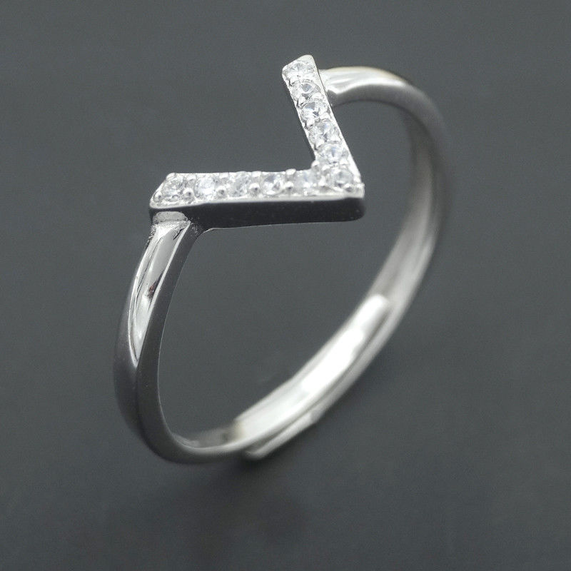 Real Cubic Zirconia Eternity Ring / Korean Design Style V Shape Rings