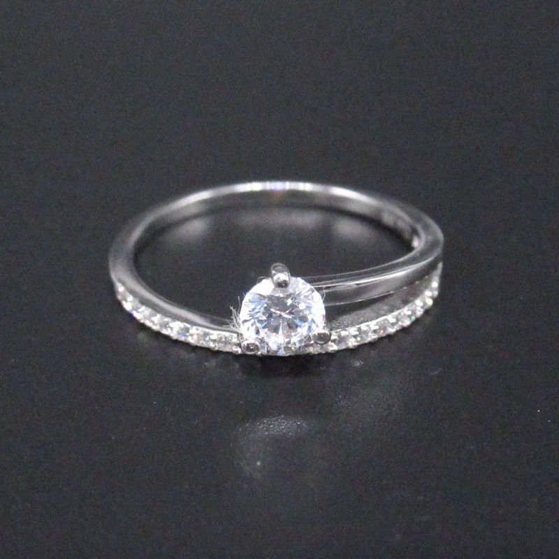 Asymmetric 925 Silver Cubic Zirconia Rings / Plating Rhodium Silver Engagement Rings