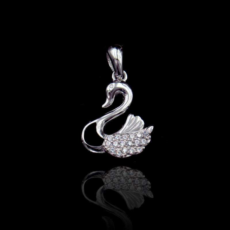 Elegantly Silver Cubic Zirconia Pendant With Swan Shape Customized Size